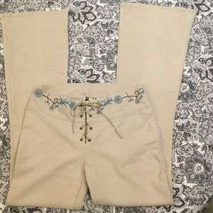 SUNSHINE APPAREL sz11embroidered waist lace up&tie